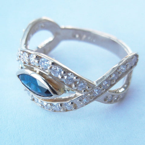 "14kt Yellow Gold Diamond & Blue Topaz ""Infinity"" Ring"