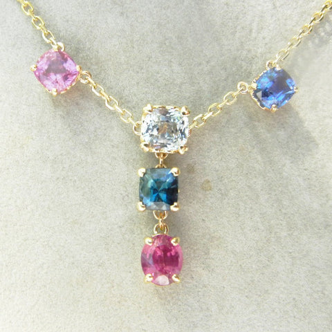 14kt Yellow Gold Multi Stone Chain with 3 Stone Center Attached Pendant
