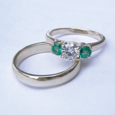 14kt Yellow Gold Diamond and Tsavorite Engagement Ring