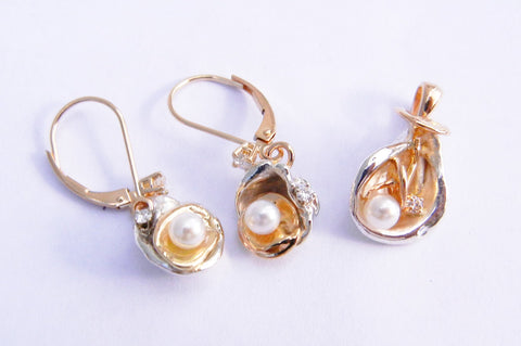 14kt Yellow Gold & Sterling Silver with Pearls & Diamonds Orbit Set