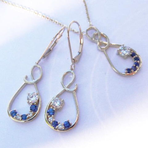 14kt Yellow Gold Diamond & Sapphire Pendant & Earrings Set