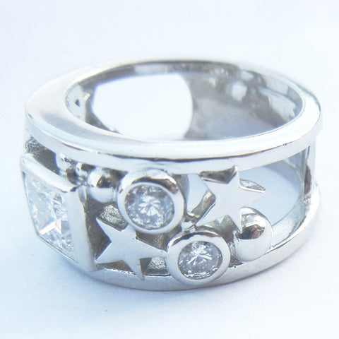 14kt White Gold Moon & Stars with Diamonds