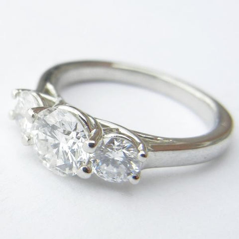 14kt White Gold 3 Diamond Engagement Ring