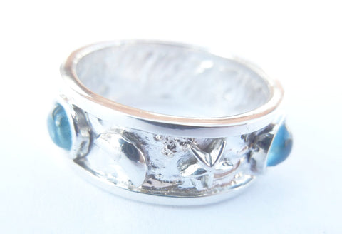 14kt White Gold & Aquamarine Space Theme Ring