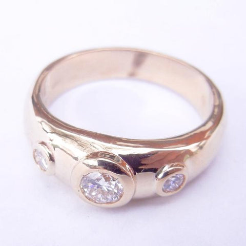 14kt Yellow Gold 3 Diamond Bezel Set Ring