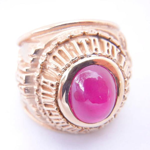 Men's 14kt Yellow Gold & Ruby Commemorative Ring