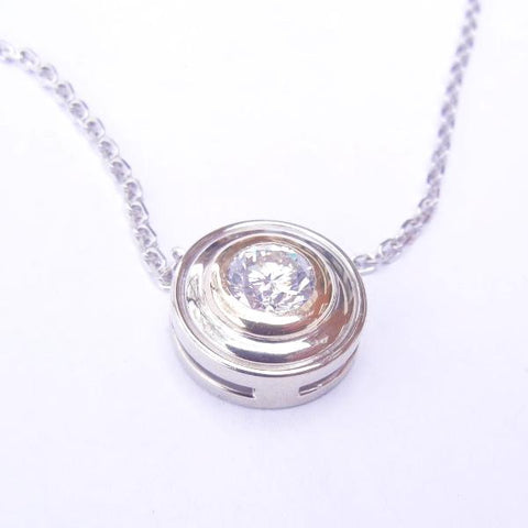 14kt White Gold Diamond Slide Pendant & Chain