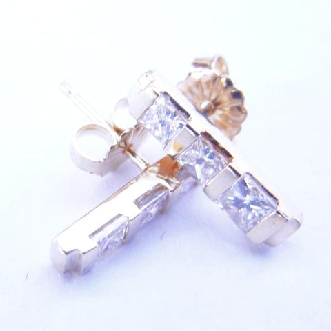 14kt Yellow Gold Princess Cut Diamond Bar Earrings
