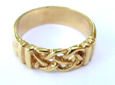 14KY Gold Celtic open carved  braided ring