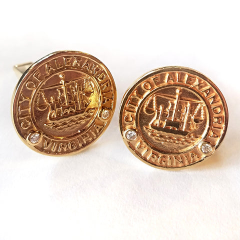 14kt Alexandria City Seal Cufflinks with Diamonds