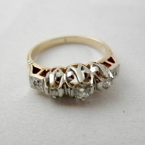 Vintage Platinum and 18kt Gold 5 Diamond Ring