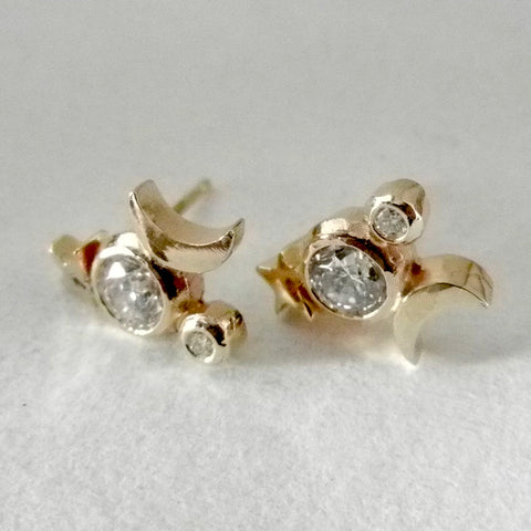 14kt Stars and Moon Earrings