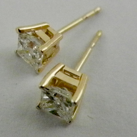 14kt Princess Cut Diamond Studs