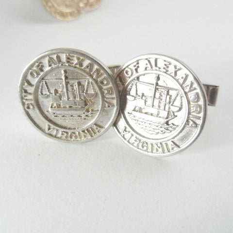 Silver Alexandria City Seal Cufflinks