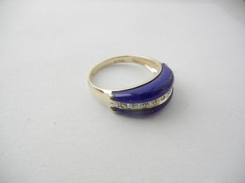 14kt Vintage Lapis and Diamond Ring