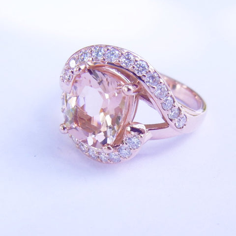 Morganite Rose Gold Bi-pass Ring