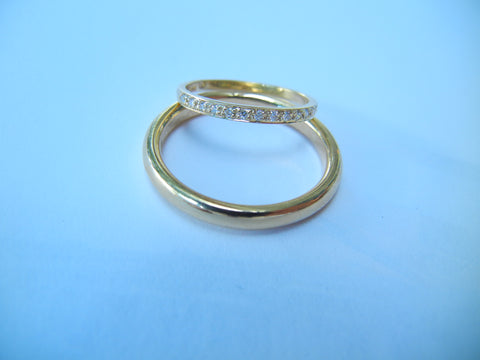 Diamond and Gold Wedding Bands Set