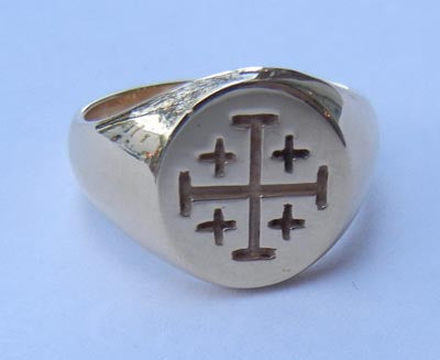 Signet ring w Jerusalem Cross