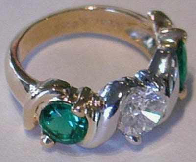 Two Tone Diamond and Emerald Ring