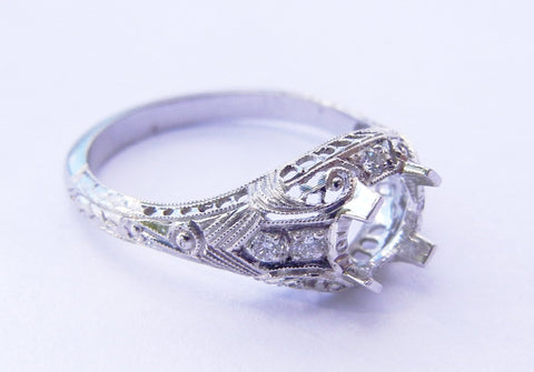 18kt White Gold Filigree Semi Mount