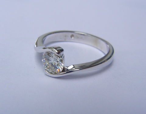 Engagement Ring with 0.5 Carat Stone in 14 ct. White Gold