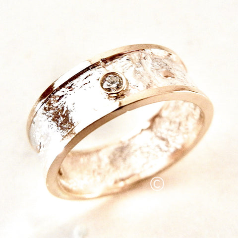 7mm Reticulated Silver and Gold Moonscape Ring with Diamonds