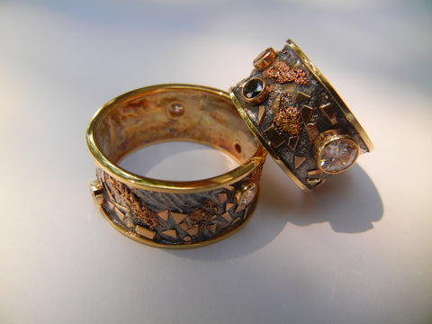 Gold and Silver Ring Set Reticulated with Multiple Diamonds and Stones