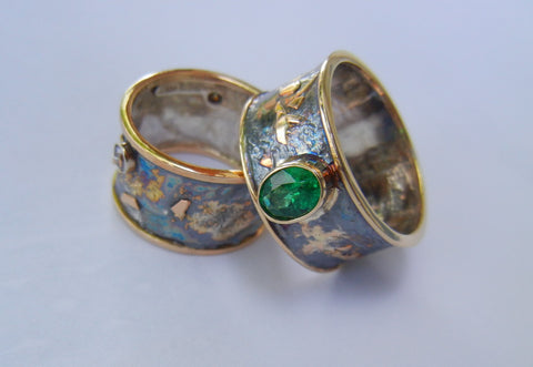 Exquisite Emerald Ring Set