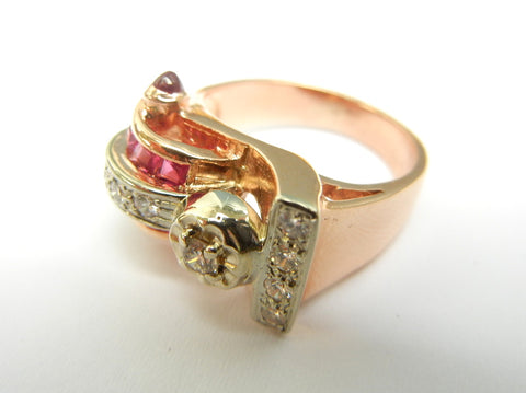 14KY Gold, Diamond, and Ruby Ring