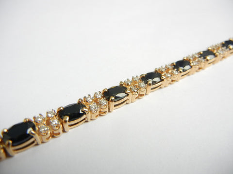 Sapphire, Diamond, and Gold Tennis Bracelet