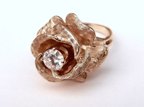 14K Yellow Gold and Faux Diamond Ring