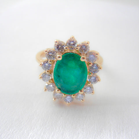 Princess Diana Style 14kt Oval Emerald and Diamond Halo Ring