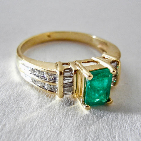 14KY Emerald Cut Emerald and Diamond Ring