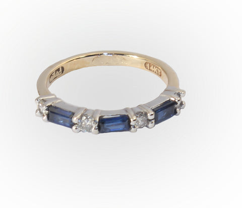 14kt Gold Band with Diamonds and Sapphires