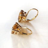 14kt Cushion Cut Citrine Leverback Earrings