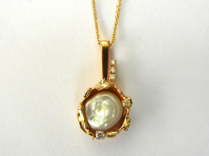 14K Gold and Fancy Pearl Pendant with Diamonds