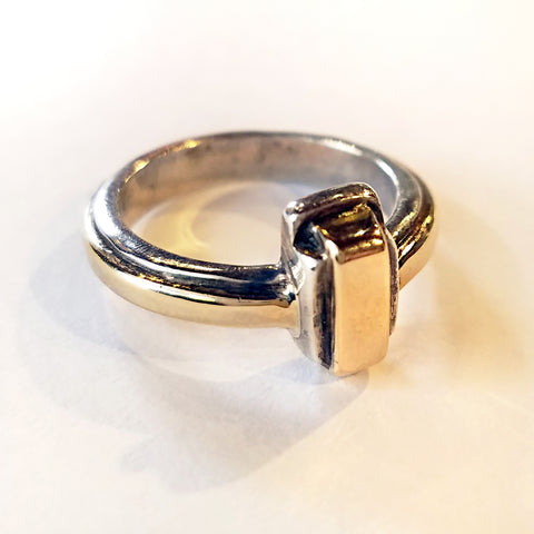 Two-tone 18kt and Sterling Silver Ring