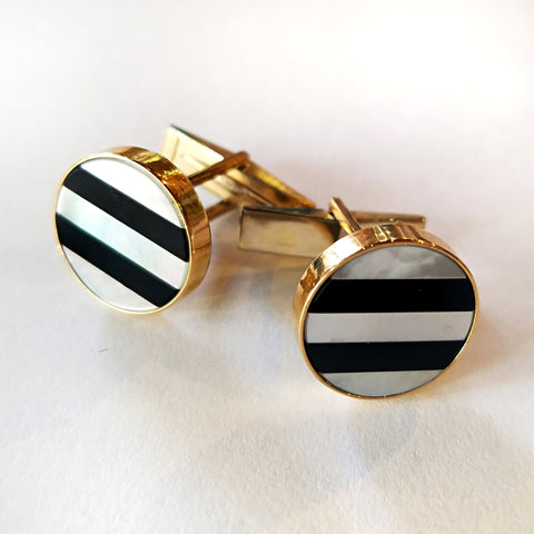 14kt Onyx & Mother of Pearl Cufflinks