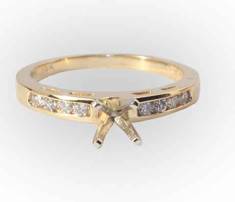 14kt yellow Semi Mount with 8 side Diamonds