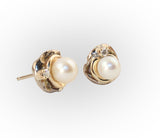 6mm Pearl Orbit Earrings with Diamond