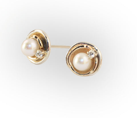 Orbit Akoya Pearl Earrings with Diamonds