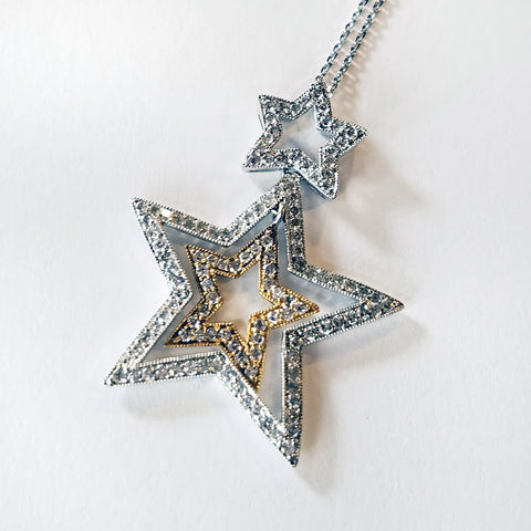 Three Star Two Tone Pendant with Diamonds