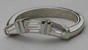 Curved Wedding Band with Baguette Diamond