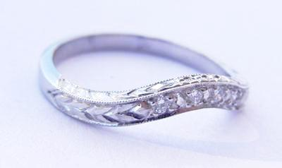 Platinum Band Set with 4 .08ct Diamonds