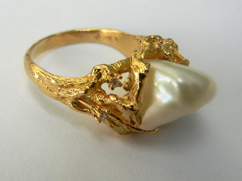 Fancy Pearl, 14K Gold, and Diamond Ring
