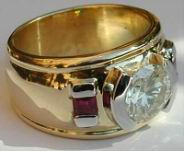 Wide Band Diamond and Ruby Ring