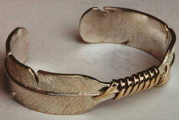 Sterling Silver & 14kt Feather Cuff Bracelet