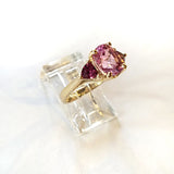 14kt Kunzite and Garnet RIng