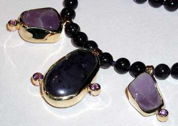 Bead Necklace With bezel set Pendants