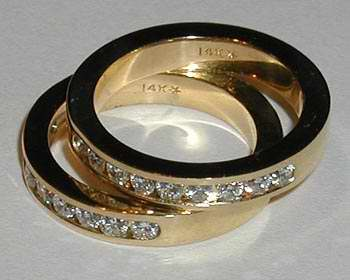 14kt Channel Set Diamond Wedding Band
